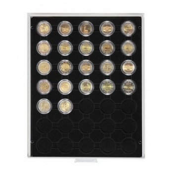 LINDNER Münzenbox, 2 €-Münzen verkapselt, LI 2530C, Carbo
