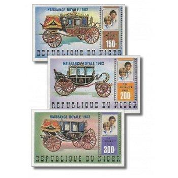 """Geburt von Prinz William von Wales """"Aufdruck"""" - 3 Briefmarken ungezähnt postfrisch, Katalo"""