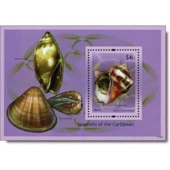 Muscheln - Briefmarken-Block postfrisch, Nevis