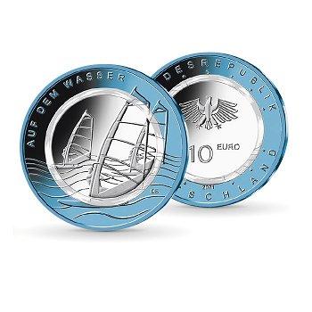 Auf dem Wasser - 10 Euro Münze mit Polymerring, Stempelglanz, Deutschland