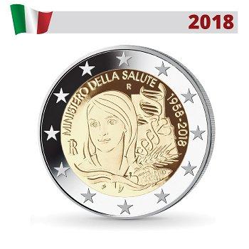 60. Jahrestag der Gründung des Gesundheitsministeriums, 2 Euro Münze 2018, Italien