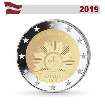 Aufgehende Sonne - Wappen von Lettland, 2 Euro Münze 2019, Lettland