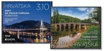 Europa 2018: Brücken - 2 Briefmarken postfrisch, Kroatien