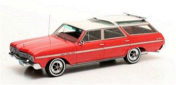 Modellauto:Buick Sport Wagon von 1965, rot-weiß(Matrix, 1:43)