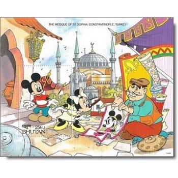 """Hagia Sophia """"Disney-Figuren"""" - Briefmarken-Block postfrisch, Bhutan"""