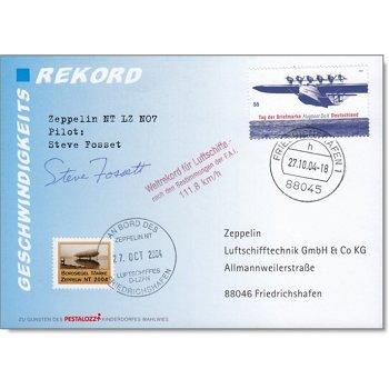 27.10.2004: Steve Fossett, Geschwindigkeitsrekord Zeppelin NT - Beleg, Bundesrepublik Deutschland