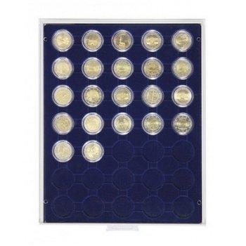 LINDNER Münzenbox, 2 €-Münzen verkapselt, LI 2530M, Marine