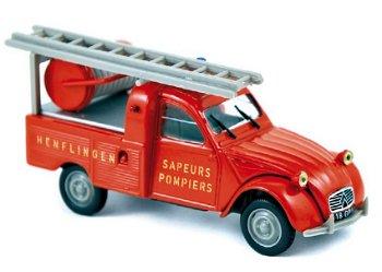 Modellauto:Citroen 2 CV Pick-Up - Feuerwehr - von 1963, rot(Norev, 1:43)