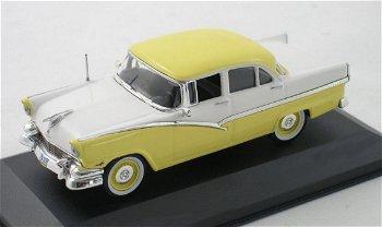 Modellauto:Ford Fairlane von 1956 in gelb-weiß(WhiteBox, 1:43)