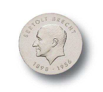 10-Mark-Münze 1973, 75. Geburtstag Bertolt Brecht, DDR