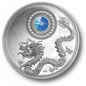 Geburtsstein mit Aquamarin, 5 Dollar Silbermünze, Canada
