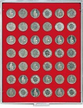 Münzbox STANDARD mit 42 runden Vertiefungen für unverkapselte Münzen mit Ø 27,5 mm, rote Einlage, Li