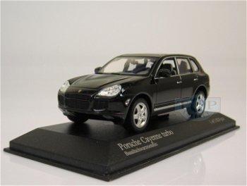 Modellauto:Porsche Cayenne Turbo von 2002, schwarz-metallic(Minichamps, 1:43)
