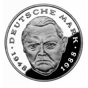 """2-DM-Münzen """"Ludwig Erhard"""" - Jahrgang 1990, alle vier Prägezeichen"""