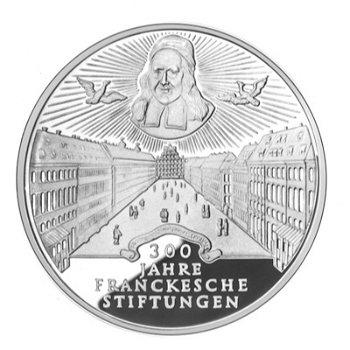 """10-DM-Silbermünze """"300 Jahre Franckesche Stiftungen"""", Polierte Platte"""