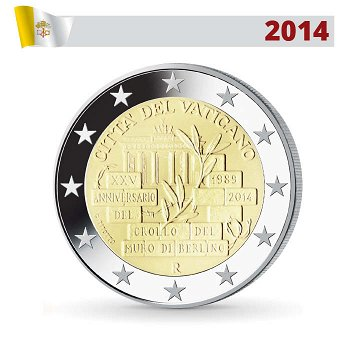 2 Euro Münze 2014, 25 Jahre Mauerfall, Vatikan