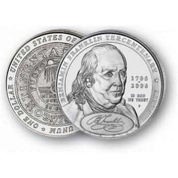 Benjamin Franklin: Porträt - Silberdollar 2006, 1 Dollar Silbermünze, USA