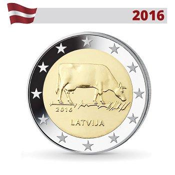 Milchwirtschaft, 2 Euro Münze 2016, Lettland