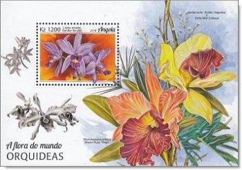 Blumen: Orchideen - Briefmarkenblock postfrisch, Angola