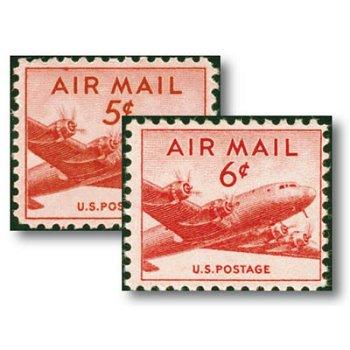 Douglas DC-4 Skymaster - 2 Flugpostmarken postfrisch, Katalog-Nr. 552-553, USA