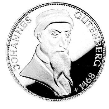 "5-DM-Silbermünze ""500. Todestag Johannes Gutenberg"", Polierte Platte"
