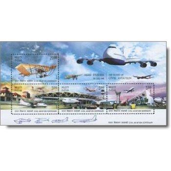 100 Jahre Zivilluftfahrt in Indien - Briefmarken-Block postfrisch, Indien