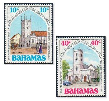 125 Jahre Stadt und Bistum Nassau - 2 Briefmarken postfrisch, Katalog-Nr. 634-635, Bahamas