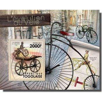 Entwicklung und Fortschritt des Fahrrads - Briefmarken-Block, Togo