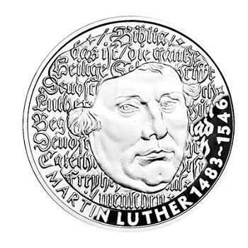 500. Geburtstag Martin Luther, 5 DM Münze 1983, polierte Platte, Deutschland