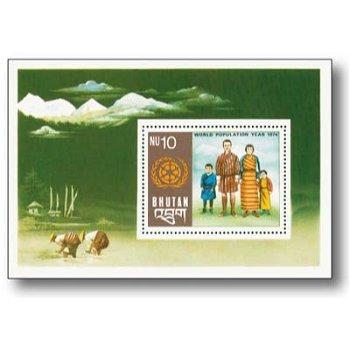 Weltbevölkerungsjahr 1974 - Briefmarken-Block postfrisch, Bhutan