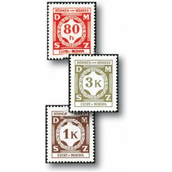 Official stamps / The first series - 12 stamps mint never hinged, catalog no. 1 - 12, Bohemia and Moravia