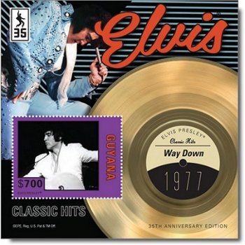 "Elvis Presley ""Way Down"" - Briefmarken-Block postfrisch, Guyana"