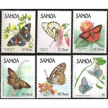 Schmetterlinge – sechs Briefmarken postfrisch, Katalog-Nr. 580-585, Samoa