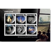 Weltraum: 50 Jahre Mondlandung / Apollo 11 - Briefmarkenblock postfrisch, Gibraltar