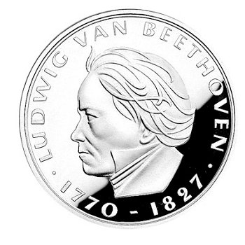 200. Geburtstag Ludwig van Beethoven, 5-DM-Silbermünze, Polierte Platte