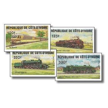 Lokomotiven - 4 Briefmarken ungezähnt postfrisch, Katalog-Nr. 826B-829B, Elfenbeinküste