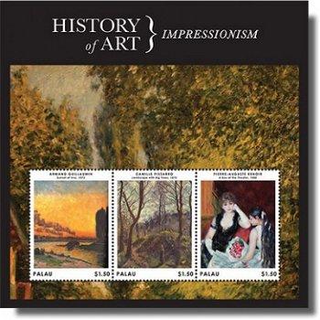 Geschichte der Kunst: Impressionismus - Briefmarken-Block postfrisch, Palau