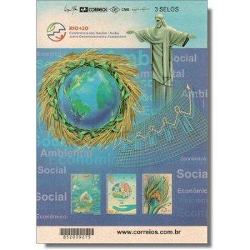 UNO-Konverenz über nachhaltige Entwicklung RIO + 20, Rio de Janeiro - Briefmarken-Block selbstkleben