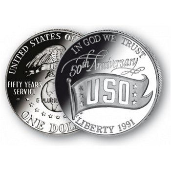 50 Jahre USO - Silberdollar 1991, 1 Dollar Silbermünze, USA