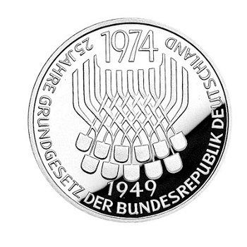 """5-DM-Silbermünze """"25 Jahre Grundgesetz"""", Polierte Platte"""