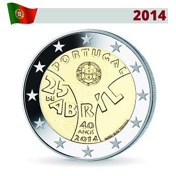 2 Euro Münze 2014, Nelkenrevolution, Portugal