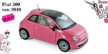 Modellauto:Fiat 500 von 2010, pink(Norev, 1:18)