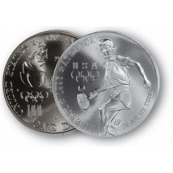 Olympiade Atlanta: Tennis - Silberdollar 1996, 1 Dollar Silbermünze, USA