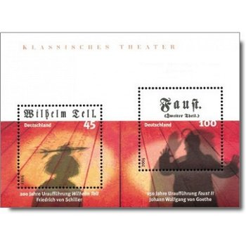 Klassisches Theather - Wilhelm Tell, Faust II, Block 65 postfrisch, Katalog-Nr. 2391-2392, Bundesreu