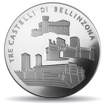 Die drei Burgen von Bellinzona, 20 Franken Münze Schweiz, Stempelglanz