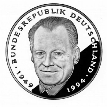 2 DM coin & quot; Willy Brandt - 45 Years of the Federal Republic & quot ;, mint mark F