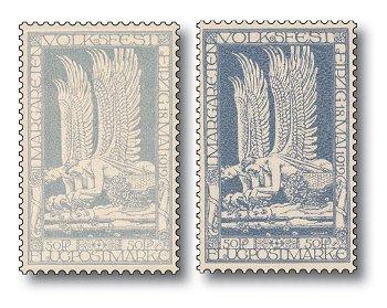 100 Jahre Flugpost in Deutschland - Flugpostmarken Katalog-Nr. 4a+b, postfrisch