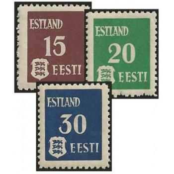 Freimarken - 3 Briefmarken postfrisch, Katalog-Nr. 1-3Y, Deutsche Besetzung Estland