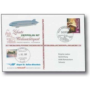 Zeppelin NT, Friedrichshafen - Altenrhein - Christmas mail 2007, receipt, Switzerland