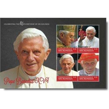 85. Geburtstag Papst Benedikt XVI. - Briefmarken-Block postfrisch, Micronesien